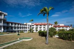 Grounds Of Sol Cayo Coco All-Inclusive Resort In Cayo Coco, Cuba. The grounds and hotel building of Sol Cayo Coco all-inclusive resort in Cayo Coco, Cuba. In the royalty free stock image