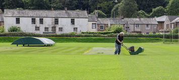 Groundsman cutting grass on cricket ground Royalty Free Stock Photos