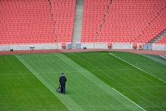 Groundsman at football stadium Royalty Free Stock Image