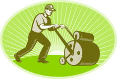 Groundsman Groundskeeper Lawn Roller Royalty Free Stock Images