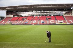 Groundsman in stadium of soccer club fc utrecht in the netherlan Stock Images
