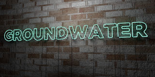 GROUNDWATER - Glowing Neon Sign on stonework wall - 3D rendered royalty free stock illustration Stock Image
