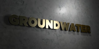 Groundwater - Gold text on black background - 3D rendered royalty free stock picture Stock Image
