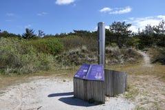 Groundwater meter. Educational groundwater meter in the dunes of Vlieland, Netherlands stock images