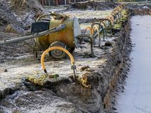 Groundwater pumping system on a construction site. Movable groundwater pumping system on a construction site royalty free stock photography