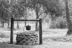 Groundwater well. In farm, vintage to use water in countryside make with wooden and rope stock photo