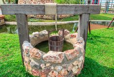 Groundwater wells in countryside. Groundwater wells in countrye with rope and Bucket stock photo