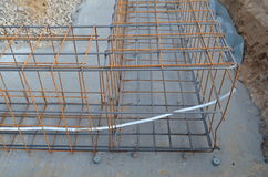 Groundwork: iron mesh for reinforced concrete. Steel mesh connected for the use in statically reinforced concrete as part of a baseplate Royalty Free Stock Image