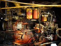 Groungy engine bay. Grungy background - details of an old tractor Royalty Free Stock Photo