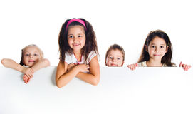 Grouop of smily kids. Over white background Stock Photo