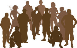 Group of 12 friends. A group of 12 funky young friends. Each is a complete silhouette in the vector file Royalty Free Stock Image