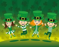 Kids in costumes for St. Patrick`s Day. Kids jumping in costumes for St. Patrick`s Day vector illustration