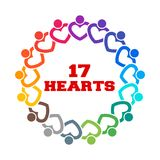 Group of 17 Heart People Together Stand. Vector Illustration Royalty Free Stock Photography
