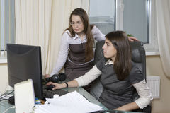 Group of 2 business people working in office Stock Photos