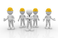 Group. 3d people - human character, person in group with helmet( businessman and workers ). Leadership and team. 3d render Stock Photography