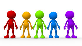 Group. 3d people - men, person in group. Teamwork stock illustration