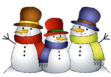 Group of 3 Snowmen. An illustration featuring a group of 3 snowmen huddled together Royalty Free Stock Image