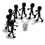 A group of 3d male icon toon characters charging Stock Photos