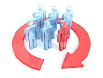 Group of 3d people with leader and arrow around Stock Photos