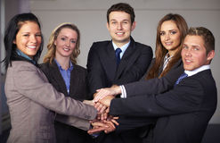 Group of 5 businesspeople, unity and teamwork Stock Image
