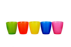 Group of 5 five colored plastic cups Stock Images