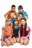 Group of 7 kids together Royalty Free Stock Photos