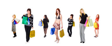 Group of 7 shopping girls Stock Photography