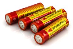 Group of AA size batteries. Creative abstract 3D render illustration of the group of four color AA type size batteries isolated on white background with stock illustration