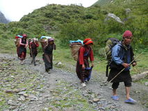 Group of aboriginal people - Tsum Valley- Nepal Royalty Free Stock Photography