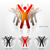 Group of abstract people with their hands up Royalty Free Stock Image