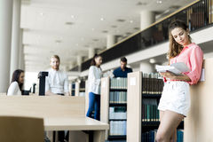 A group of academics studying in the library and conversing. In a positive mood Royalty Free Stock Photos