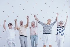 Group of active elderly people holding hands up and enjoying meeting royalty free stock photos