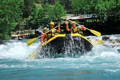Rafting in Antalya Turkey. A group of active people in whitewater raft in Antalya, Turkey Royalty Free Stock Photo
