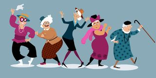 Senior ladies having fun. Group of active senior women dancing, EPS 8 vector illustration, no transparencies Royalty Free Stock Photography