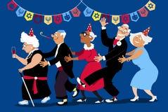 Hanukkah party. Group of active seniors dancing conga line at Hanukkah party, EPS 8 vector illustration Royalty Free Stock Photos