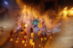 Group of actors, playing on scene in theater. Radial blur effect Royalty Free Stock Photo