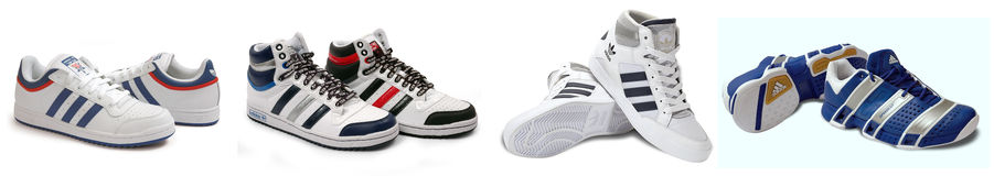 Group of Adidas sport shoes Stock Photo