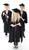Group of adolescents celebrating after Graduation Royalty Free Stock Photography