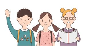 Group of adorable smiling children or pupil isolated on white background. Joyful funny school kids, cute happy. Classmates or friends. Bright colored vector vector illustration