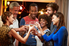 Group of adult friends at party making a toast royalty free stock photos