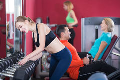 Group adults of different age in gym Stock Photos