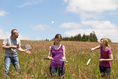 A group adults are playing badminton Stock Images