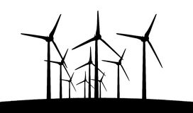 Group of aeolian windmills in perspective silhouette Royalty Free Stock Images