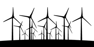 Group of aeolian windmills in perspective silhouette Stock Photo