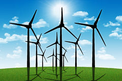 Group of aeolian windmills in perspective Stock Images