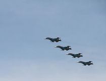 Group aerobatics on the front-line bombers SU-34. Front-line bombers SU-34 has recently adopted by the Russian Air Force stock photography