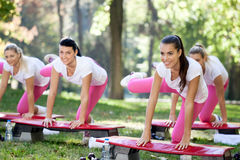 Group of aerobic women Stock Image