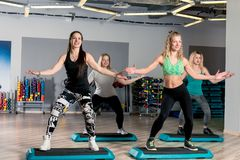 Group aerobics with a coach Stock Photography