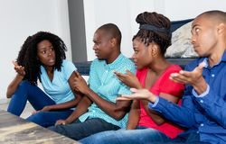 Group of african american people in discussion Royalty Free Stock Photos