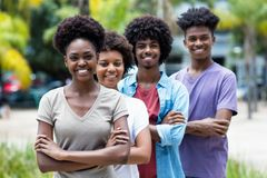 Group of african american young adults in line stock image